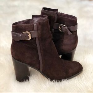 Land's End Brown Suede Heeled Booties Size 10